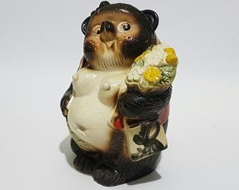 Old Japanese Shigayaki Lady Tanuki Raccoon Figurine