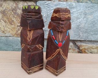 Vintage Japanese Ainu Couple Woodcarved Statue