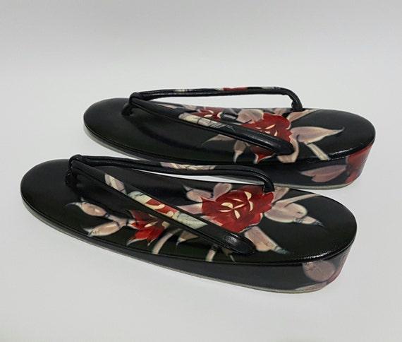 bf8533c8e85ec ... Cherry Geta Floral Black Sakura Japanese Sandals Handpainted  CecysAsianShop Blossoms Leather dwqngPO0 ...