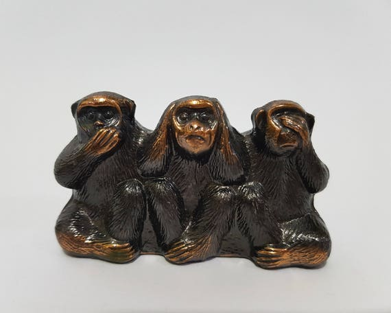 Brass Mini 3 Monkey Ear Eye Mouth Closing Figurine Vintage Collect Animal Statue