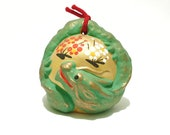 Vintage Signed Handpainted Golden Green Dragon Clay Dorei Bell, Protective Charm, Omamori, Year of the Dragon Lucky Charm Figurine