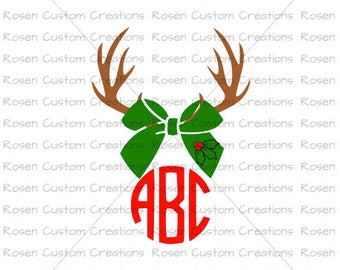 Antler Monogram SVG. Font NOT Included. Antlers. Santa. Rudolph. Christmas. Holly. Holiday
