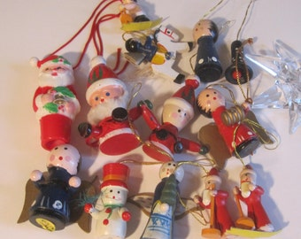 plastic and wood christmas tree decoration figurines christmas tree ornaments