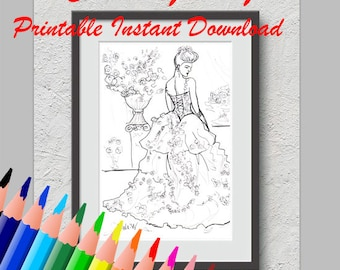 Digital Download Coloring Page Adult Home Print Female Portrait Baroque Dress Fashion Illustration Romantic Hobby Creative Art Design