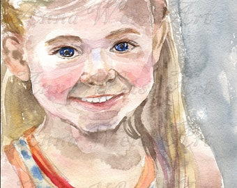 Personalized Watercolor Portrait Paper Custom Fine Baby Girl Female Art Gift Colorful Painting Wall Decor Aqarelle Family Couple Portrait