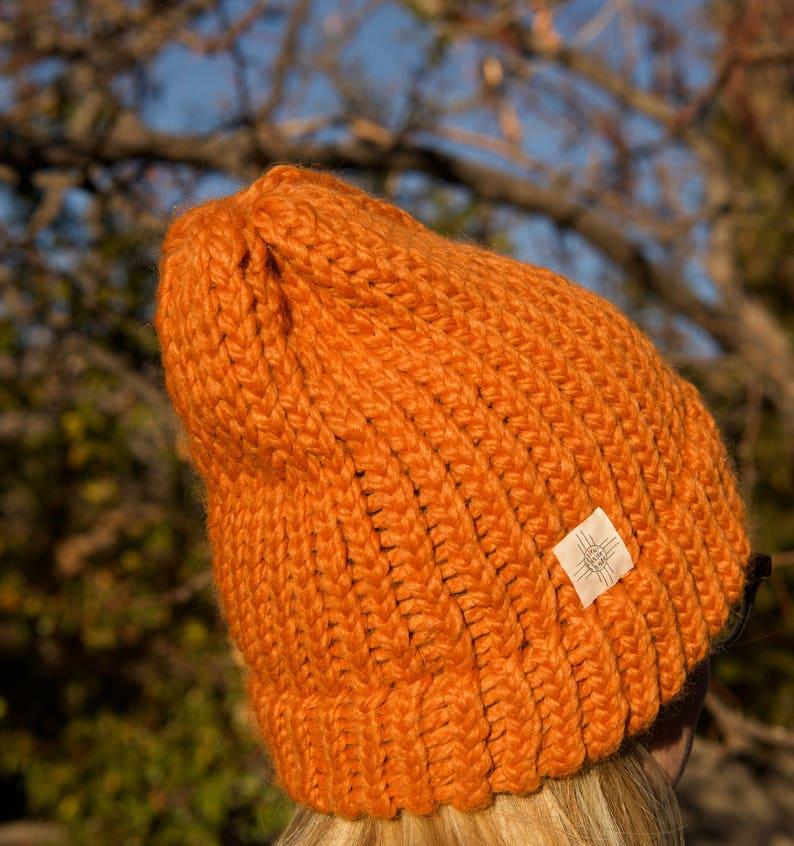 d46aecec9df Orange Knit Hat Orange Beanie Burnt Orange Hat