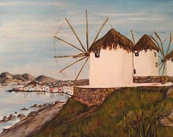 Original handpainted Santorini Greece Windmills acrylic art nfs