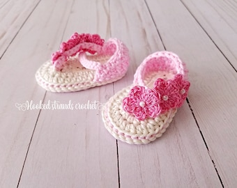 3fd06d8aa Pink flower sandals, Infant flip flops, Infant shoes, Summer shoes, Crochet  booties, Baby shower, strappy footwear, 0-12 months