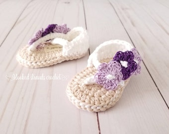 c5a7df954 Purple baby sandals, Crochet baby shoes, Infant booties, Baby shower gift,  Soft sole shoes, 0-12 Months