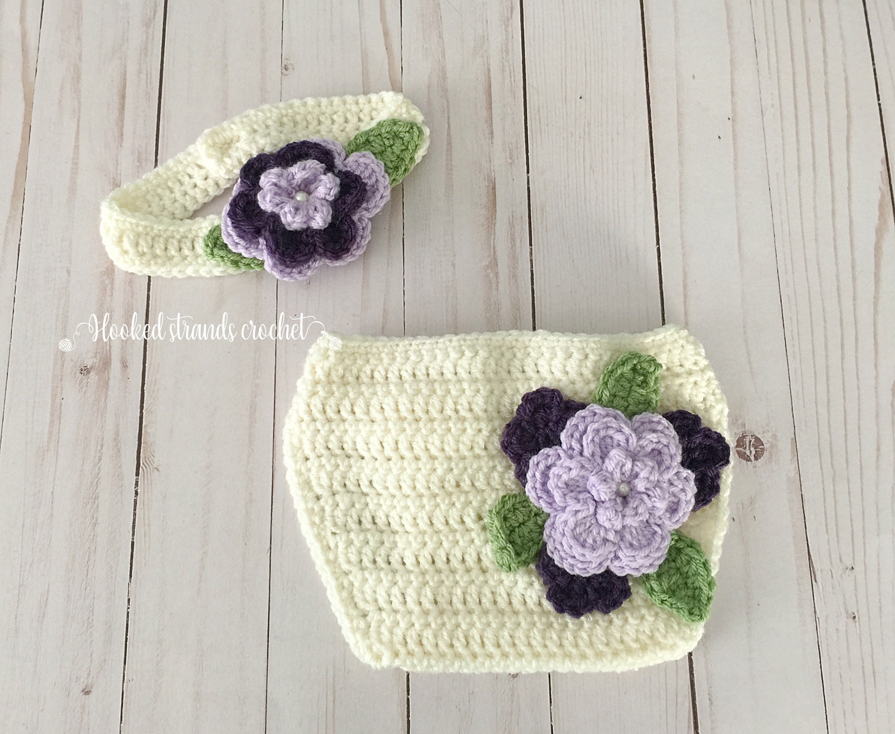 4e219539a Flower headband, Crochet baby outfit, Baby photo prop, Diaper cover, 3-6  Months, Crochet headband, Baby headband, Purple headband