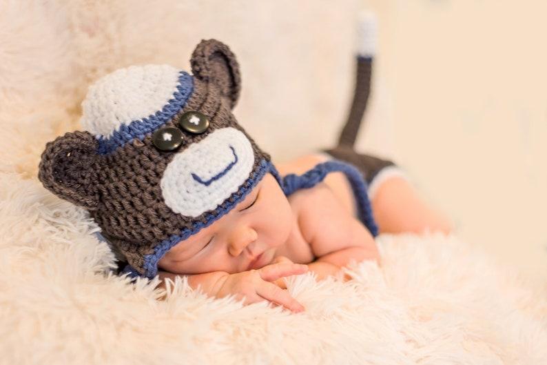 ec0409e2db2 Sock monkey hat Newborn photo prop Baby boy outfit Diaper