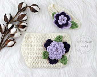 Flower headband, Crochet baby outfit, Baby photo prop, Diaper cover, Purple flower set, 3-6 Months, Large flower headband, Ready to ship