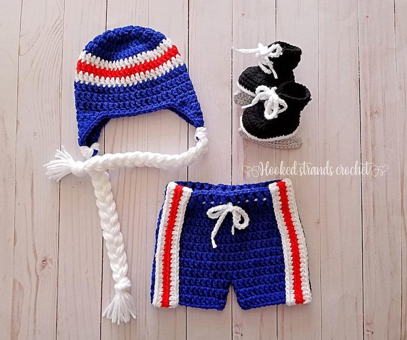 e49442fcb Baby hockey set, Newborn photo outfit, Hockey skates, Crochet hockey set,  Baby shower gift, 0-12 Months, Baby boy outfit, Hockey hat