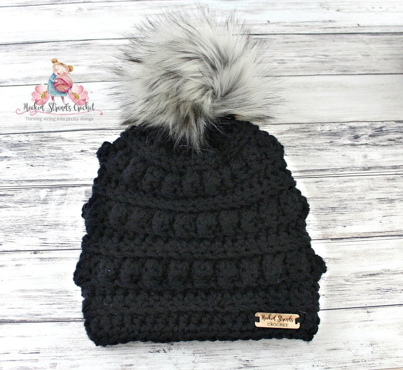 60a764c180a Womens black crochet chunky bobble hat with fur pom