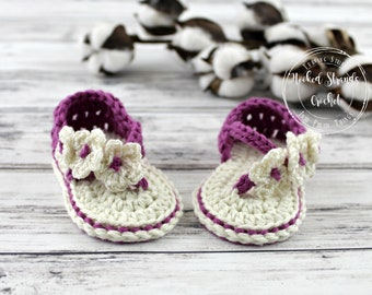 Purple sandals, Baby girl, Flip flops, Baby shoes, Crochet baby sandals, Baby booties, Baby shower gift, Summer shoes, 0-6 Months,