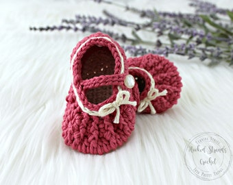 Mary janes, Baby shoes, Baby booties, Baby girl, Baby shower gift, Crochet shoes, Soft sole shoes, Cotton shoes, Infant shoes, 0-12 Months