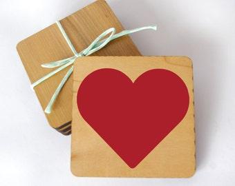 Heart Coaster, Wooden Sqaure Coaster, Love Coaster, Red Heart Decor