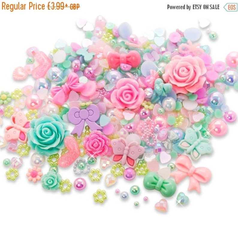 DIY Decoden Set Flatback Resin CANDYFLOSS Flowers /& Pearls Acrylic Cabochons