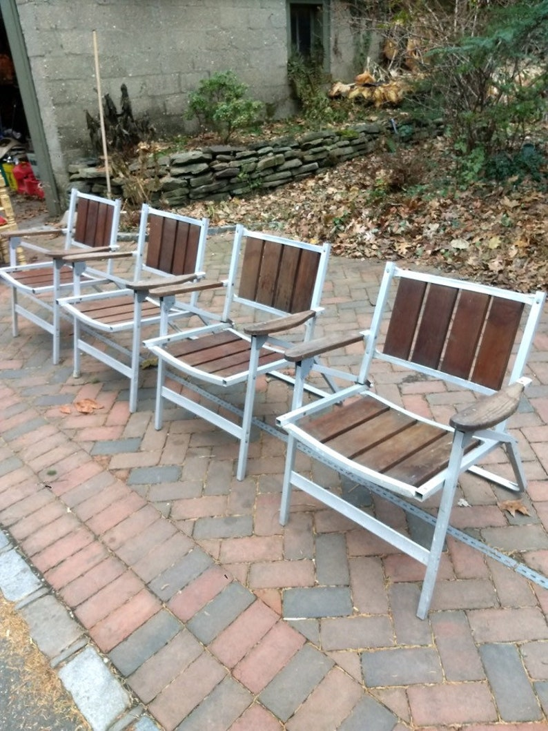 Incredible Vintage Rare Mid Century Aluminum Redwood Folding Chairs Download Free Architecture Designs Scobabritishbridgeorg