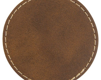 Set of 10 Blank Rawhide Laserable Leatherette Round Patch with Adhesive