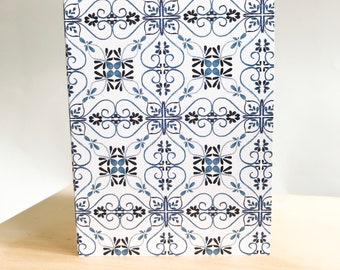 Mini 5pk Indigo Swirly Tile Bundle of Love Notes- A7 Blank Card with envelope seals