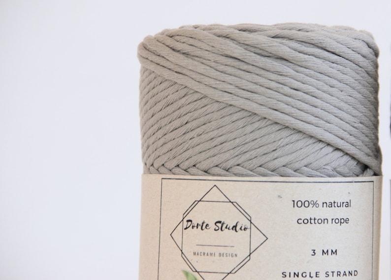 Craft Supply Twisted string Cordon 100/% Organic Macrame Yarn Cotton Rope 140m 3mm LIGHT GRAY Single Strand Macrame Cord Craft Cord