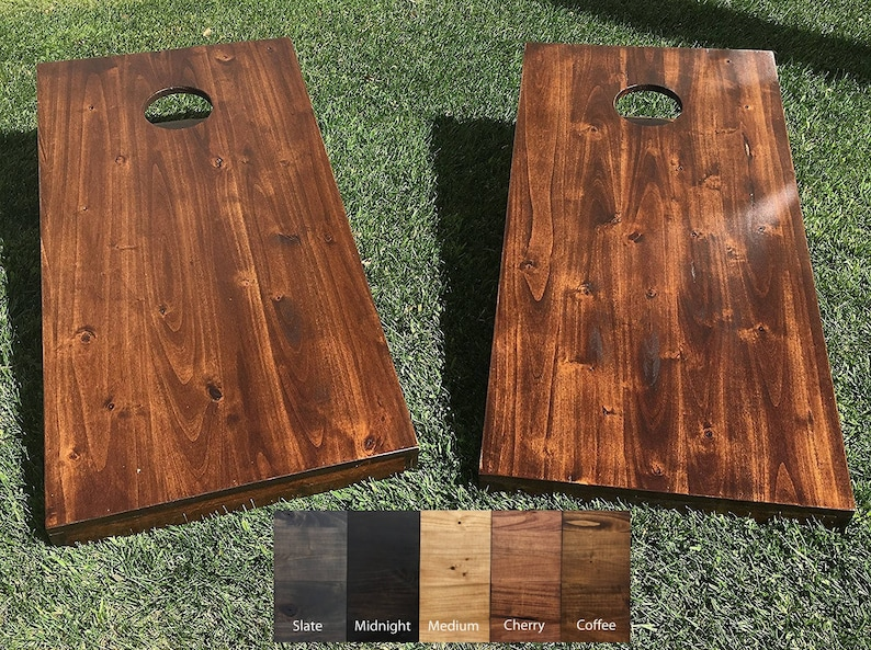 Bean Bag Toss Game Corn Hole Rustic Solid Hardwood New Colors