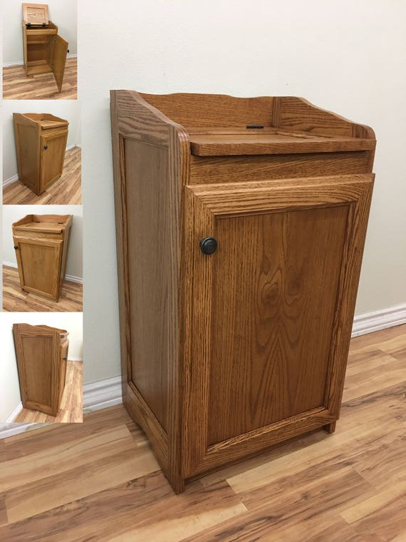 Wood Wastebasket, Kitchen Organizer Storage, Trash Can, Storage Cabinet in  Oak Wood