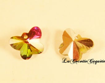 2 charms Butterfly glass faceted multicolored 15 x 12 mm