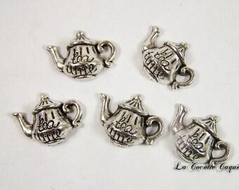 Lot 5 antique silver Tea Time teapot charms