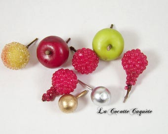 Fruit and silver beads / gold plastic decor foodie jewelry