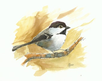 Print of watercolour painting - Chickadee by Judit Szabo