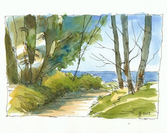 Print of watercolour painting - Path to the lake by Judit Szabo
