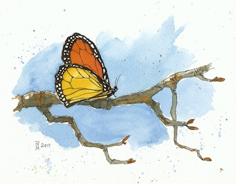 Print of watercolour painting - Butterfly by Judit Szabo