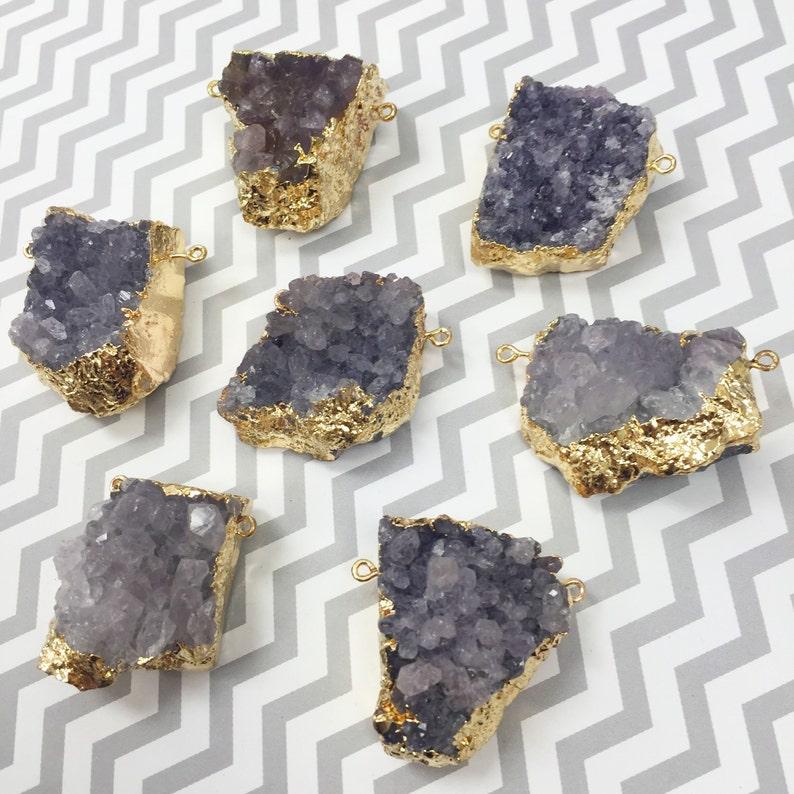 Large Lavender Natural Quartz Connector Amethyst Color image 0