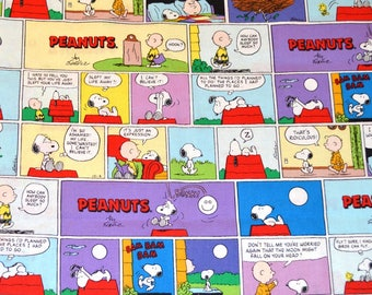 PEANUTS COMIC FABRIC / By the Half Yard For Quilting / Charlie Brown - Snoopy - Vintage Comic Strip Scenes