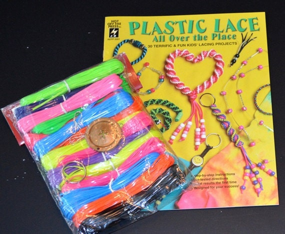 Kids Craft Lot 200 Yards Plastic Lanyard Lace Pattern Book Etsy
