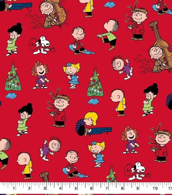 Merry Christmas Charlie Brown.Peanuts Christmas Fabric By The Half Yard For Quilting Merry Christmas Charlie Brown Snoopy Linus Schroeder