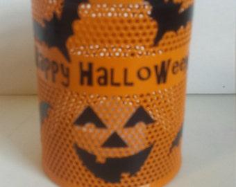 Happy Halloween Orange Pumpkin Face with Bats Tea Light Holder