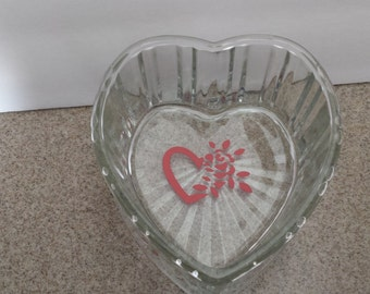 Gorgeous Glass Heart Candy or Trinket Dish Accented with Red Heartand Flower