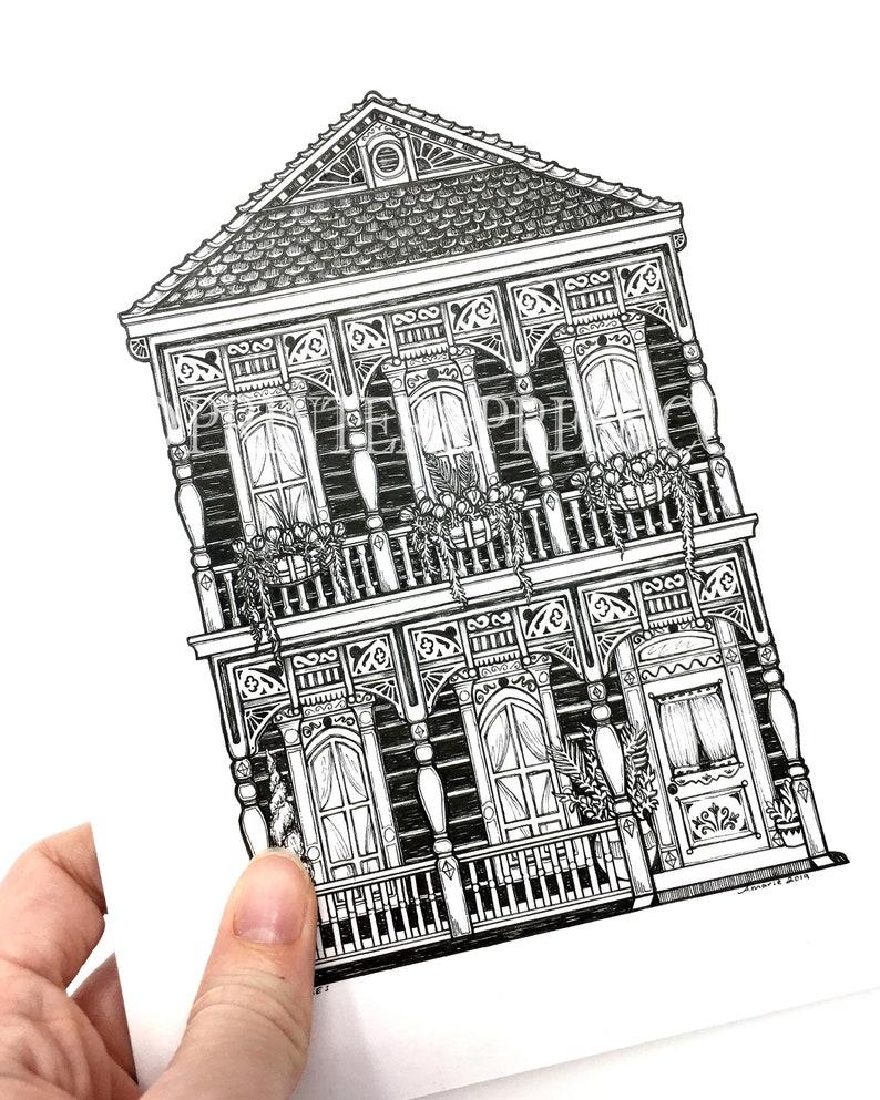 Original Blue New Orleans House Ink Drawing Illustration Etsy