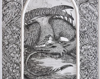 Amy's Dragon - Limited Edition Hand-Pulled Intaglio Etching Print from Copperplate - Mother of Dragons - Dragon Art - Dragon Print