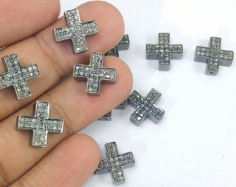 Pave diamond Cross - Both side Diamonds - 925 Sterling silver 13mm - Pave diamond Cross bead- Christian Cross bead- Silver Pave findings