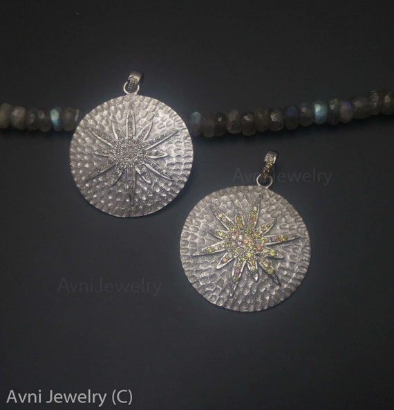 0c6f6bfc3 Pave Diamond Starburst Multi Sapphire Pendant Pendant | Etsy