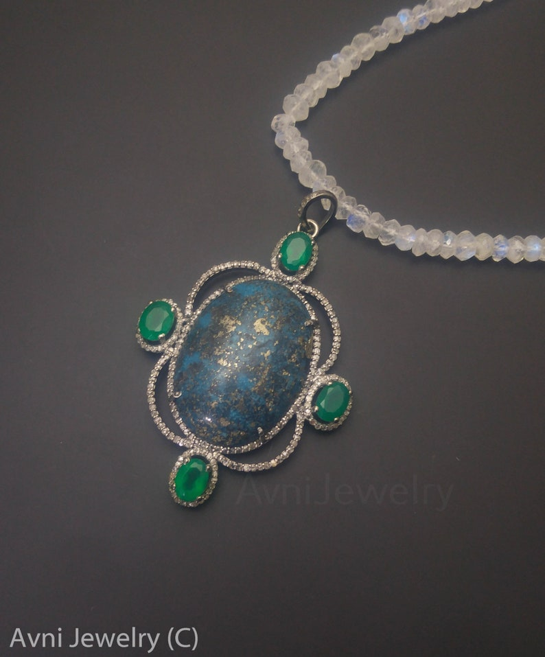 Green Onyx And Natural Turquoise One of a Kind Pendant Turquoise Diamond pendant 925 Sterling Silver Turquoise Necklace