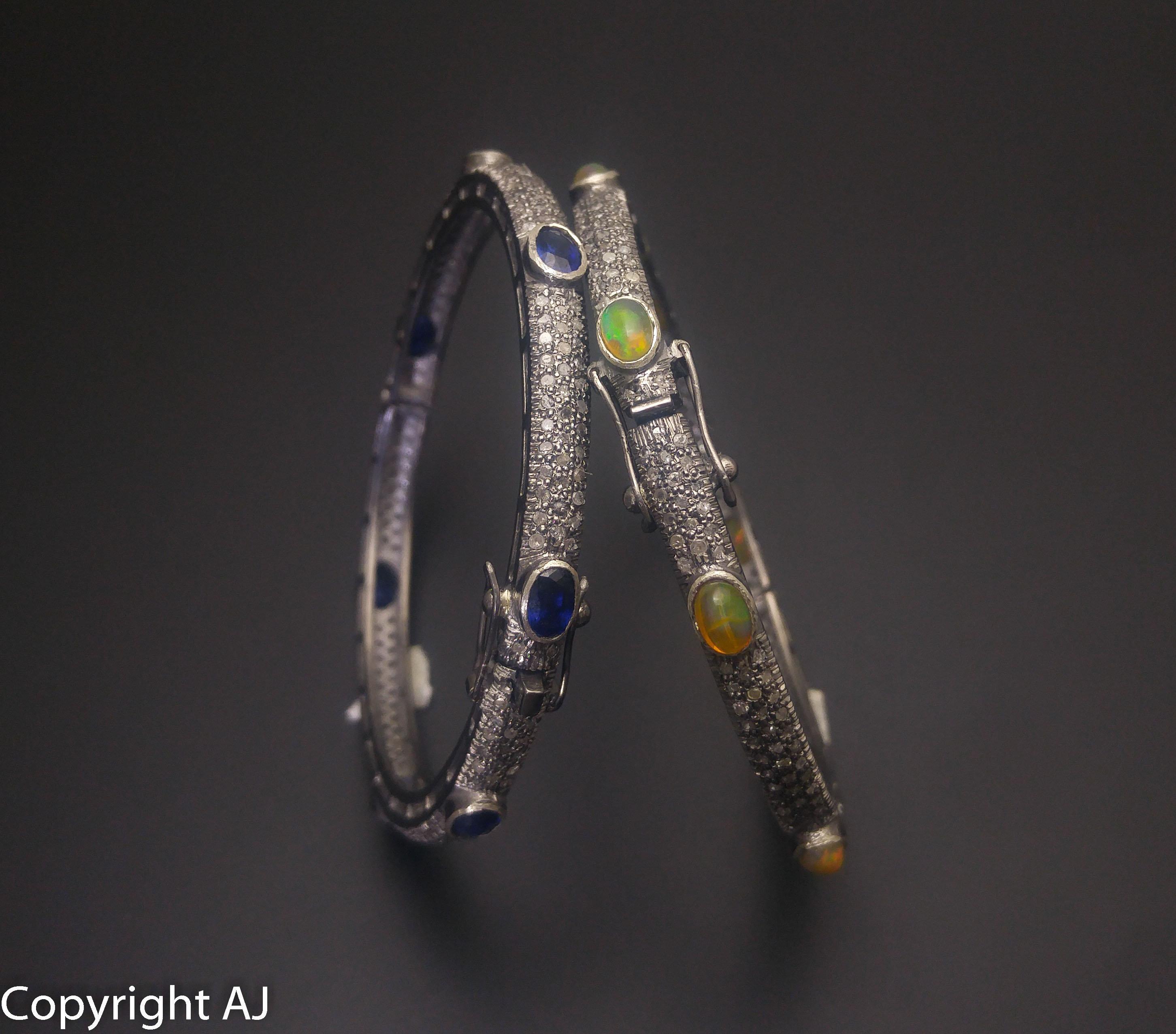 Opal Bracelet Pave Diamond Bracelet Natural Blue Sapphire