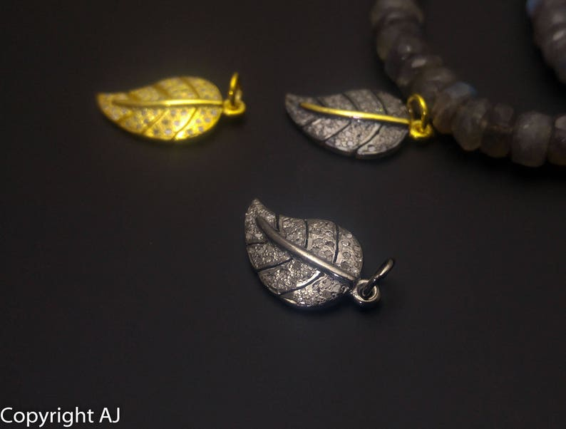 Pave Diamond Leaf Charm Pendant Pave Diamond Charms Pave diamond findings 925 Sterling Silver Tree Leaf Pave Leaf- Pave Leaf Charm