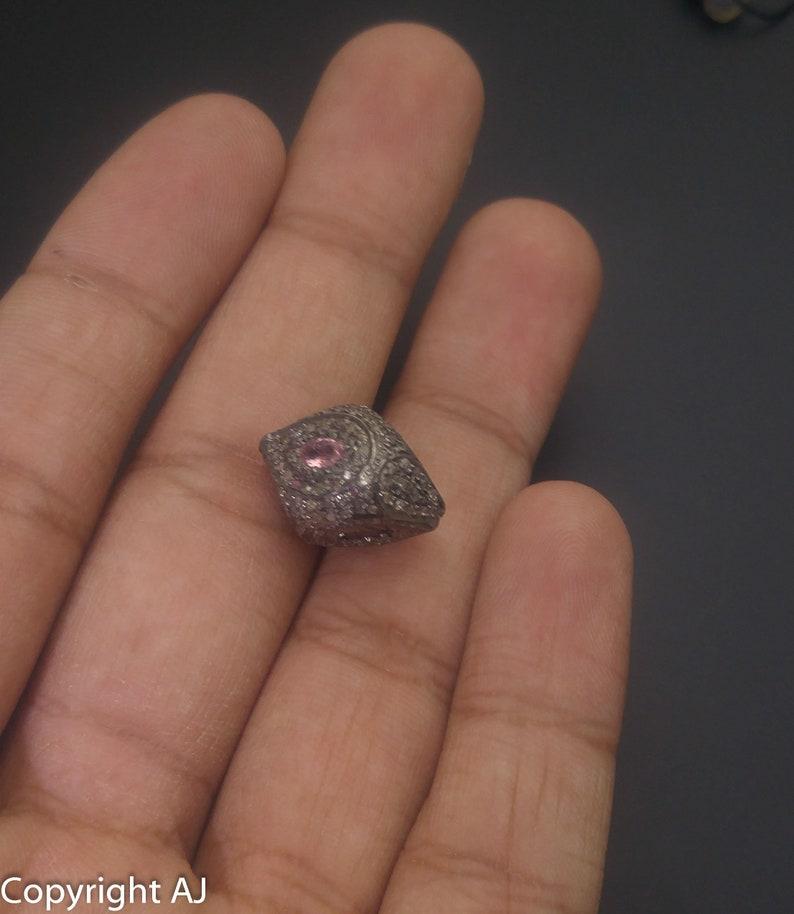 925 Sterling Silver Beads Pave diamond spacer Shell Shape Diamond Beads Shell Beads- Pave Diamond findings Tourmaline Diamond Beads