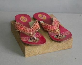 ff16a59d7 Vintage 1970s High Heel Clogs Brown Leather Mules Wood Effect clog Sandals  EU 38 US 7 Slides Mules Platform Shoes
