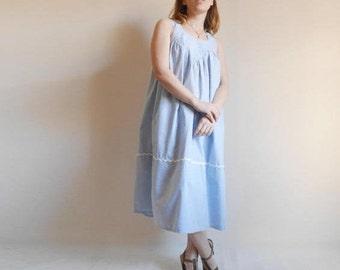 c638b68725e Vintage coton tente robe blanc rayure cavalier bleu robe robe d été robe de  maternité empiècement col longueur Vintage des années 80 Midi d été